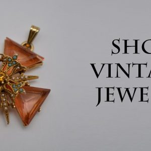 Vintage cross pendant gold topaz pearl turquoise Victorian jewelry 1960s, Gift for Women