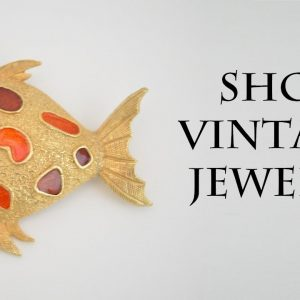 Fish zodiac sign brooch pin gold enamel jewelry 1960s, Womens vintage gift
