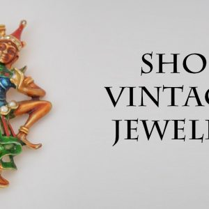 Asian siam dancer brooch pin gold pearl red green orange brown enamel, Exotic Vintage jewelry gift