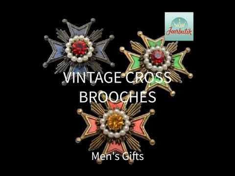 Vintage cross pins brooches 1960s jewelry, Men's gifts