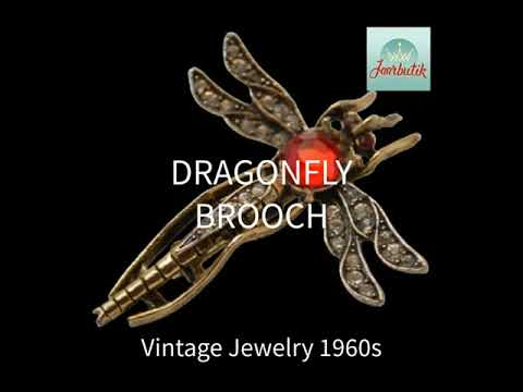 Dragonfly insect brooch pin, Vintage jewelry 1960s