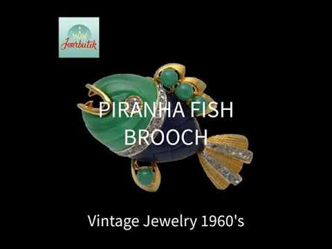 Piranha Fish brooch pin 1960s, Hattie Carnegie Rare Collectible Vintage jewelry