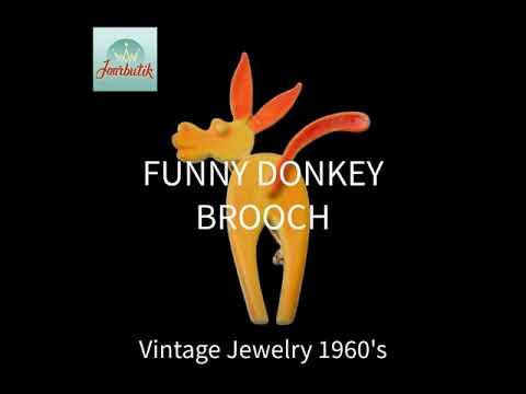 Funny donkey brooch pin enamel yellow orange Animal jewelry 1960s, Vintage Gift